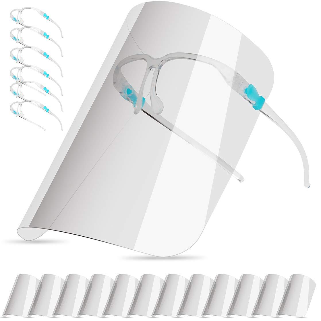 Pantalla Protección Facial para Adultos y Estudiantes, Face_Shield Visera de Protección(con 12 Viseras Antivaho Reemplazables y Lavables y 6 Gafas Reutilizables)