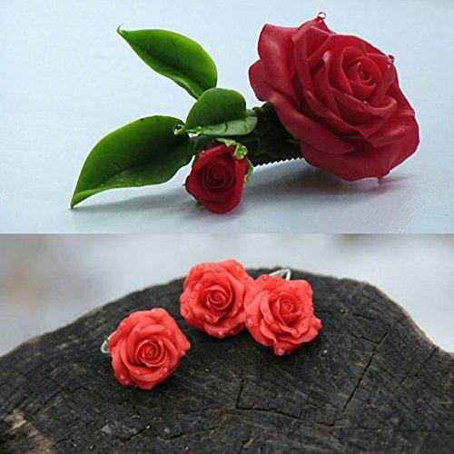 Porcelain Clip Earrings (rose barrette, flower earrings, roses earrings, red bride, flower jewellery, bridesmaids earrings, rose hair accessories, cold porcelain)