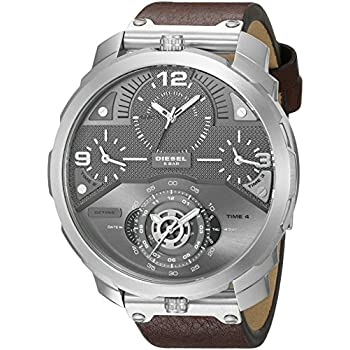 Diesel Mens DZ7360 Machinus Stainless Steel Brown Leather Watch
