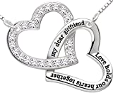 ALOV Sterling Silver My Dear Girlfriend Love Holds Our Hearts Together Love Heart Cubic Zirconia Pendant Necklace