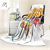 vanfan Supersoft Fleece Throw Blanket World Map Made Names The Countries Europe America Africa Asia Graphic,Silky Soft,Anti-Static,2 Ply Thick Blanket. (62''x60'')
