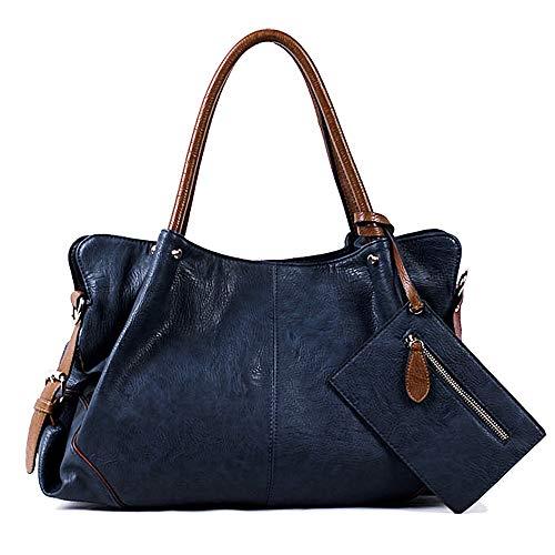 UTO Women Hobo Purse 3 Pieces Handbag Set PU Leather Tote Bag Satchel Shoulder Bags with Wristlet Wallet Blue (Large Leather Soft Satchel)