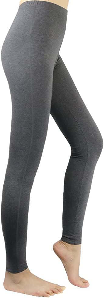 La Dearchuu Full Length Cotton Leggings Women Yoga Pants UK Size 6-12 Soft Base Layer Bottems Ladies Casual Tight Pants Slim 4 Colors Black Dark Grey Navy Grey