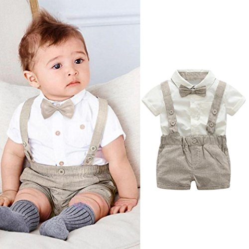 Kstare Baby Boys Outfits Gentleman Bowtie Short Sleeve Shirt+Suspenders Shorts Clothes Set (6-12M, (Khaki Apparel)