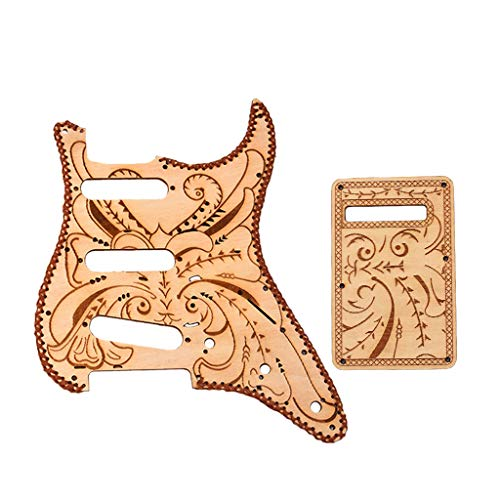 (Homyl 1 Set Maple Wood Pickguard Wool Edge Purfle with Backplate for Fender Strat Guitar Guitar Accessory - Flower Pattern)