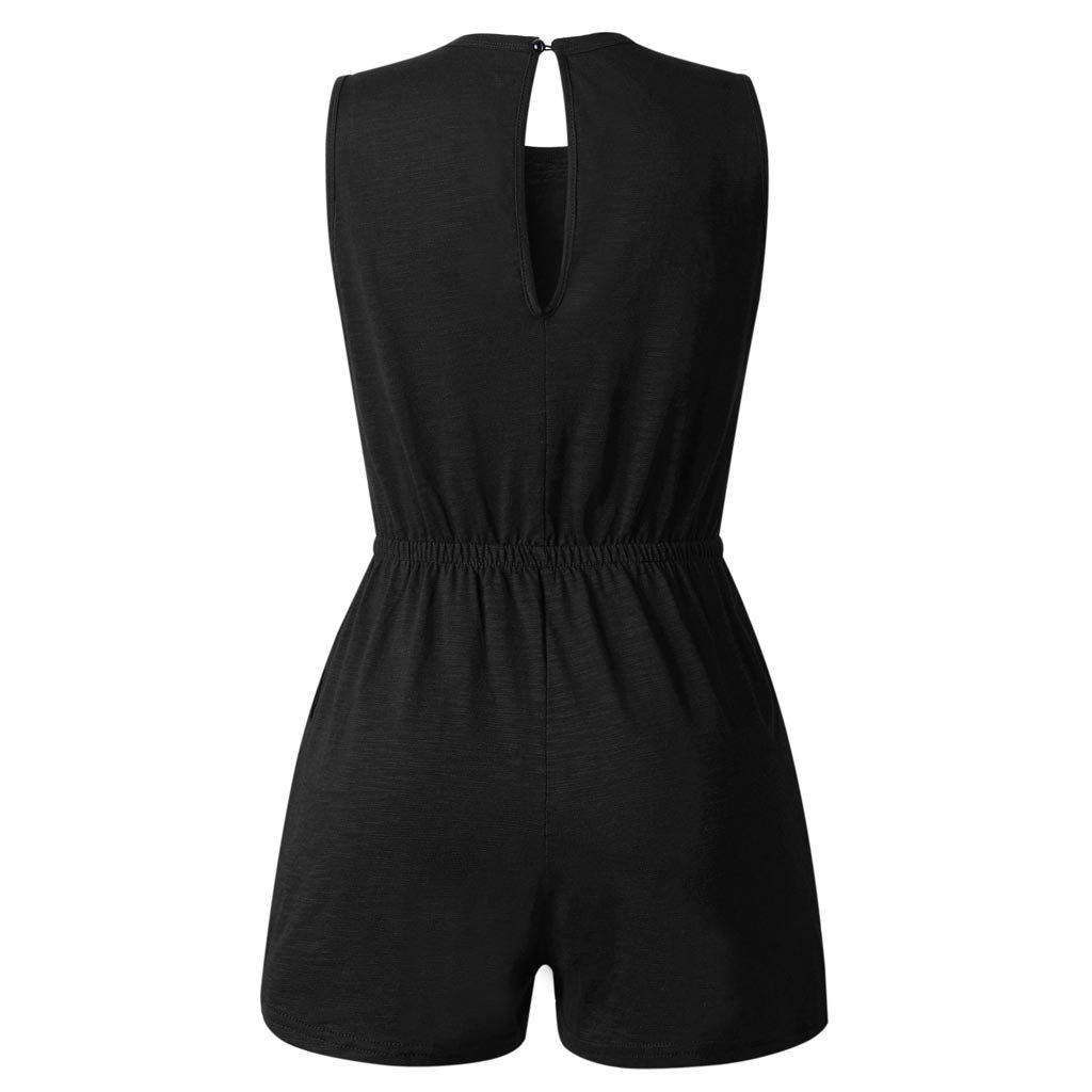 TOTOD Jumpsuits for Women, 2019 Lastest Summer O Neck Hole Sleeveless Pockets Rompers Drawstring Playsuit Black by TOTOD (Image #6)