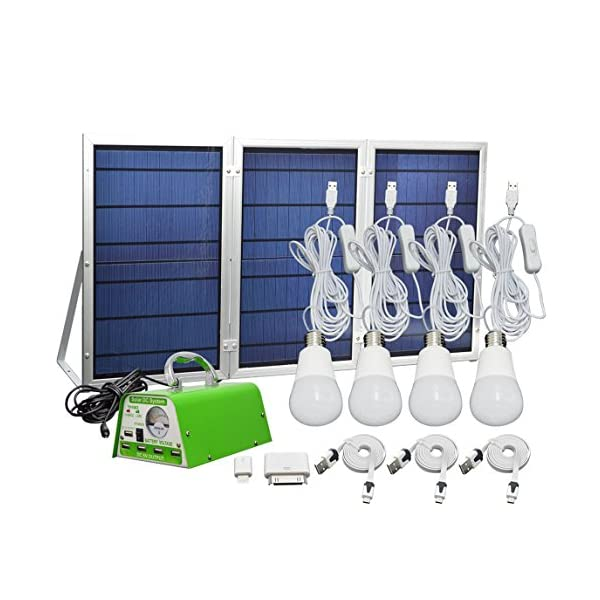 51ITjRGcX3L. SS600  - [30W Panel Foldable] HKYH Solar Panel Lighting Kit, Solar Home DC System Kit, USB Solar Charger with 4 LED Light Bulb as Emergency Light and 5 Mobile Phone Charger/5V 2A Output Can Charge Power Bank