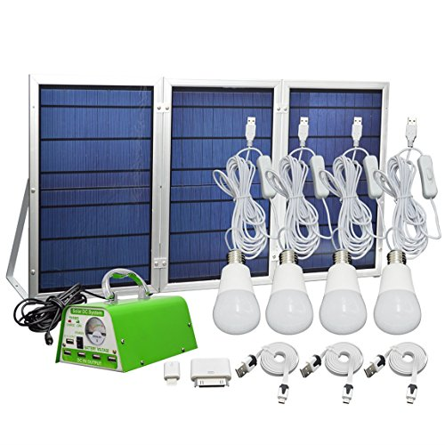 [30W Panel Foldable] HKYH Solar Panel Lighting Kit, Solar Home DC System Kit, USB Solar Charger with 4 LED Light Bulb as Emergency Light and 5 Mobile Phone Charger/5V 2A Output Can Charge Power Bank by HKYH
