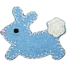 ID #3347B Blue Cottontail Baby Bunny Rabbit Felt Stitched Iron On Applique Patch