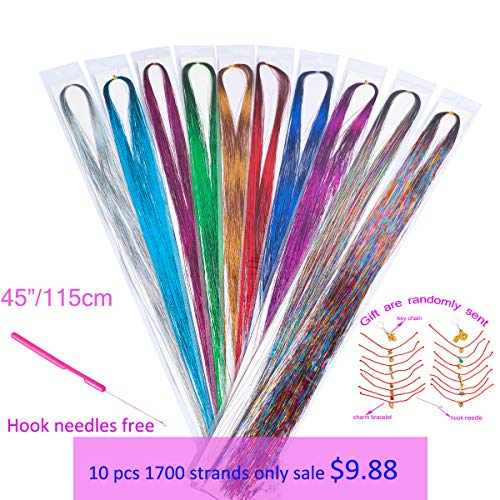 Xinxinshuyu Hair Tinsel Strands 10 Colors 1700 Strands in Set Sparkling Shiny Hair Tinsel Extensions Colored Party Highlights Glitter Extensions Multi-Colors Hair Streak Bling Synthetic (10 colors)