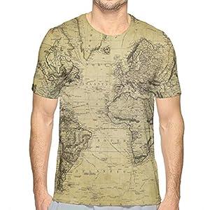 Mapa del Mundo Antiguo Moda para Hombre Diseño de Cuello Redondo Manga Corta Slim Fit Casual Camiseta