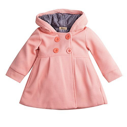 Baby Toddler Girls Fall Winter Trench Coat Wind Hooded Jacket Kids Outerwear (2-3 Years, Skin Pink)