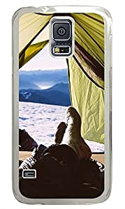 Samsung Galaxy S5 landscapes nature snow mountain camp 20 PC Custom Samsung Galaxy S5 Case Cover Transparent