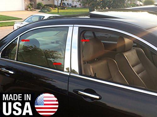 Fits Acura TSX 2004-2008 Real Carbon Fiber Black Window Pillar Posts 6PCS