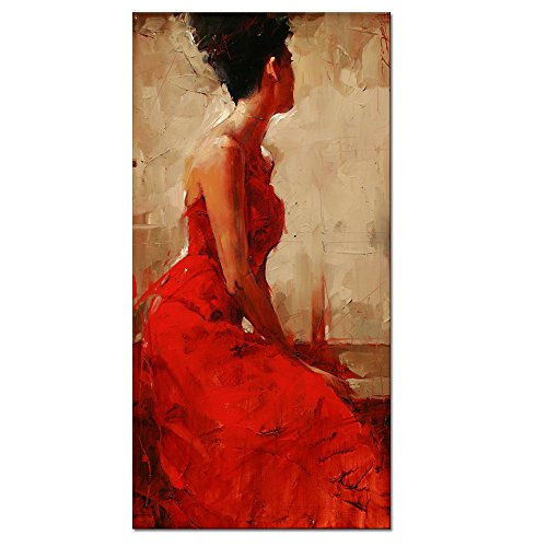 Large Size Canvas Wall Art Prints,large Size Red Dress Sexy Lady Oil Painting Feeling Picture Canvas With Frame,Ready-hang-on Home Wall - Pictures Large Ladies