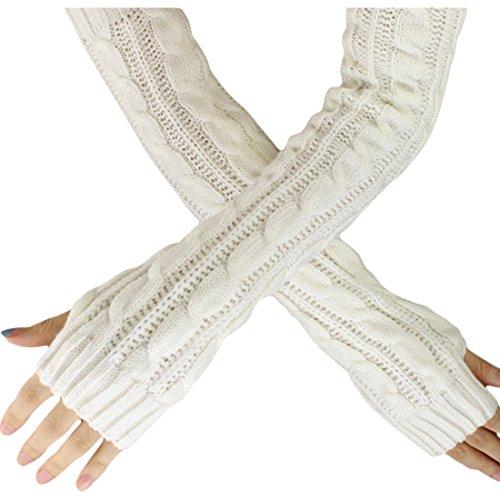 Women Men Mitten - SODIAL(R)Fashion Winter Women Men Gloves Unisex Arm Warmer Long Fingerless knit Mitten white