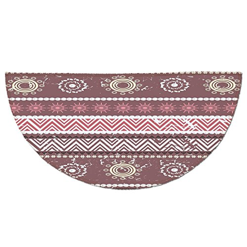 Yellow Carpet Rose - Half Round Door Mat Entrance Rug Floor Mats,Zambia,Antique African Traditional in Earthen Tones with Sun Figures Boho Pattern,Dried Rose Yellow,Garage Entry Carpet Decor for House Patio Grass Water