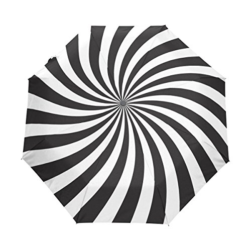 Naanle Black White Spiral Swirl Auto Open Close Foldable Windproof Travel Umbrella]()