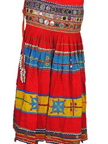 [Multicolor Belly Dance Costume Handmade Ethnic Gypsy Mirror Work Belt Skirt S] (Banjara Dance Costumes)