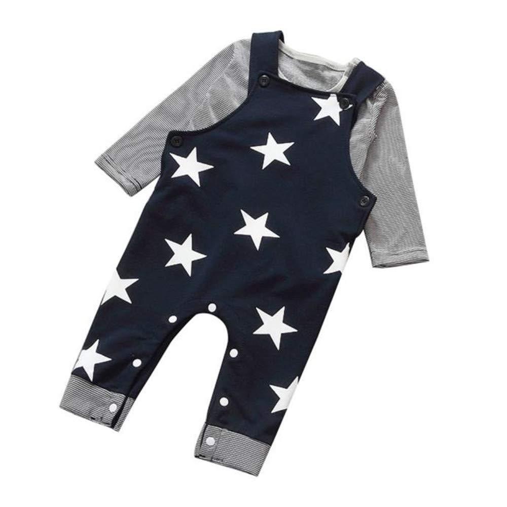 LANSKIRT 3PCS para Reci/én Nacido Beb/é Ni/ño Ni/ña Camiseta a Rayas Top Sombrero General Conjunto de Trajes Pantalones de Babero Traje Beb/é