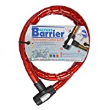 Oxford OF147 Red 25mm Diameter 4.9' Long Barrier Armored Cable Lock