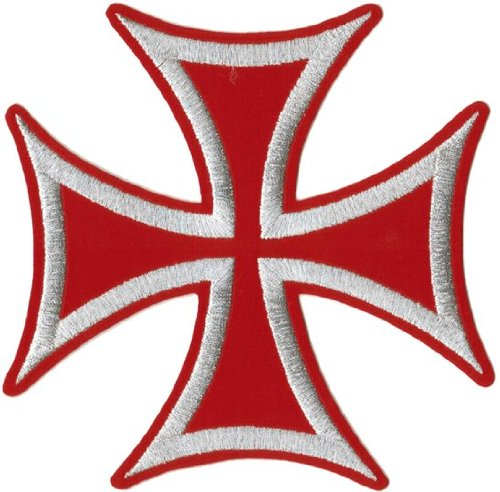 Iron Cross - Silver On Red - Embroidered Iron On Or Sew On Large - Band Square Cross