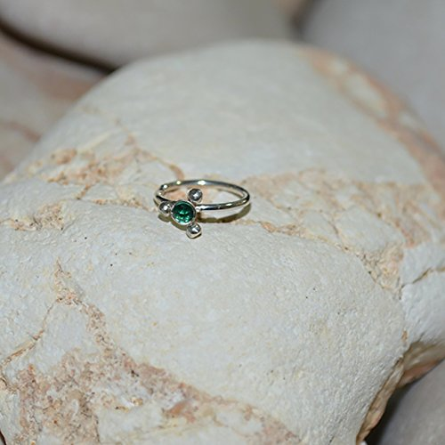 2mm Emerald NOSE RING//Silver Nose Piercing - Tragus Hoop - Helix Earring - Rook Earring - Conch 18g - Cartilage Ring 18 gauge by PjCreationsStudio