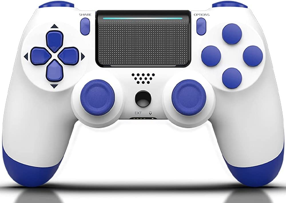 MOVONE Game Controller for PS4 Controller Compatible with Playstation 4 / Slim/Pro (White+Blue)
