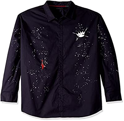 Sean John Men's Long Sleeve All Over Graffiti Button Down Shirt