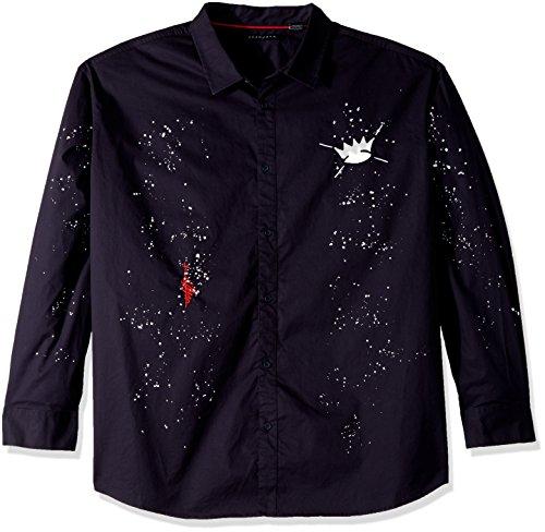 (Sean John Men's Long Sleeve All Over Graffiti Button Down Shirt, Night Sky, 5XB)
