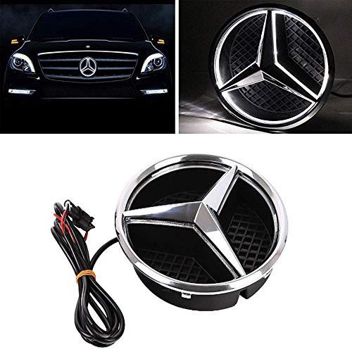 (LED Emblem for Mercedes Benz A/B/C/CLS/E/GLK/GL/R Series, Front Car Grille Badge, White Light)