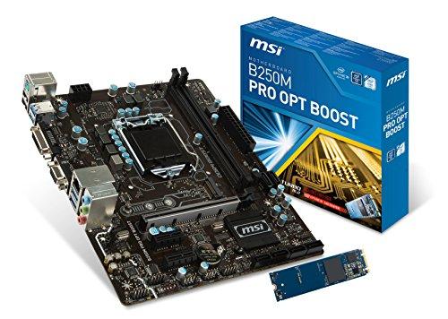MSI ProSeries Intel B250 LGA 1151 DDR4 HDMI VR Ready micro-ATX Motherboard with Intel Optane Hard Bundle (B250M PRO OPT BOOST)