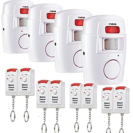 Fuers - Alarma del Sensor de Movimiento de casa Fuers Alarma hogar de Movimiento + 2 mandos a Distancia (4 piezaA)