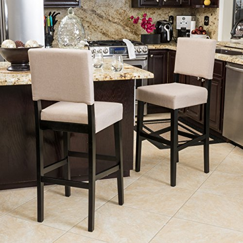 Contemporary Tan Fabric Bar Stools