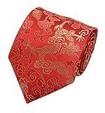 Mens Red Golden TieS Elegant Woven Bridegroom Wedding Necktie Father's Day Gift
