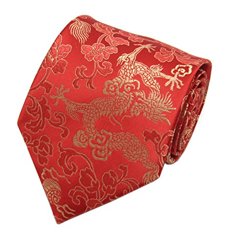 Mens Red Golden TieS Elegant Woven Bridegroom Wedding Necktie Father's Day Gift