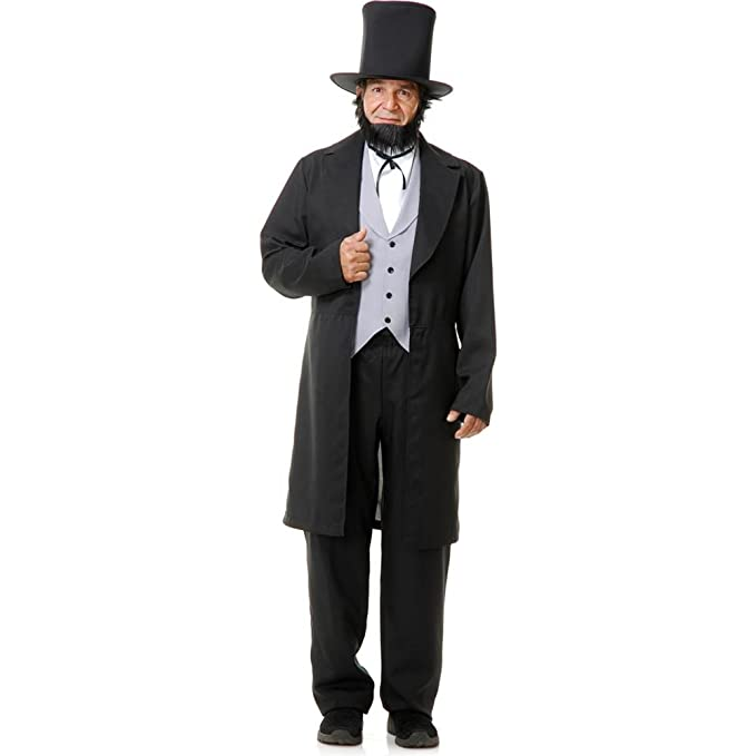 Victorian Men's Costumes: Mad Hatter, Rhet Butler, Willy Wonka Charades Abe Lincoln Adult Costume- $92.99 AT vintagedancer.com