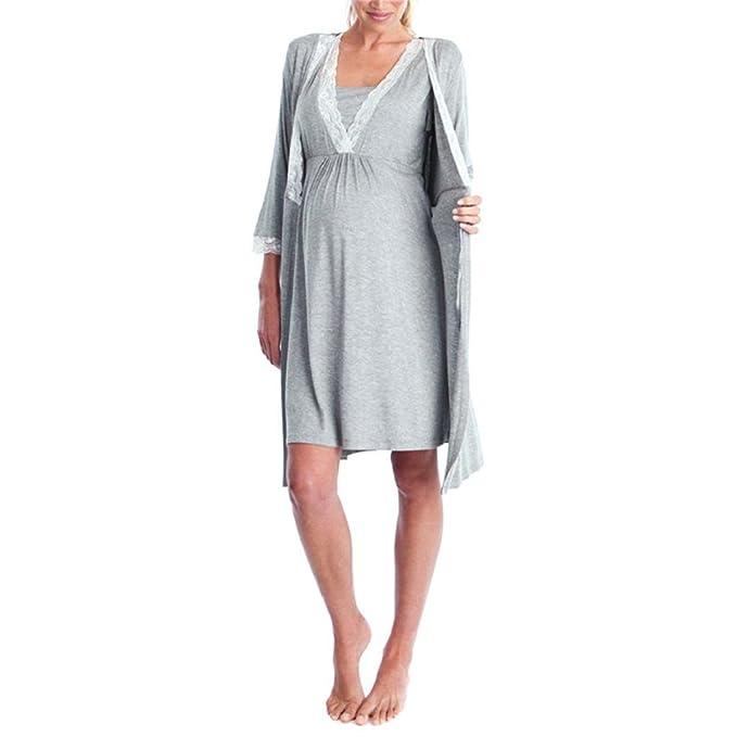 QUICKLYLY Ropa Embarazadas Vestido Enfermería Mujer Premamá Mangas Largo Vestido Pijama Noche-TúNica (Gris