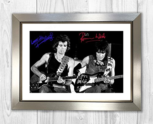 Engravia Digital Ronnie Wood & Keith Richards Rolling Stones Poster Signed Autograph Reproduction Photo A4 PrintSilver Frame
