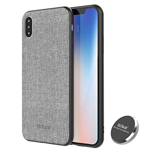 iPhone X Case, iPhone 10 Case, PU Leather Fabric Pattern Phone Case Protective Back Cover With Built-in Magnetic Metal Plate Use On Magnet Car Holder - 5.8 inch, - Bb 15 Leather