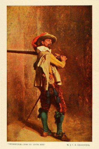 1907 Print Musketeer Time of Louis XIII Jean Louis Ernest Meissonier Artwork - Original Color (Meissonier Jean)