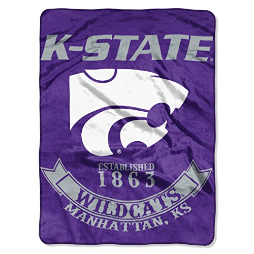 Officially Licensed NCAA Kansas State Wildcats Rebel Plush Raschel Throw Blanket, 60