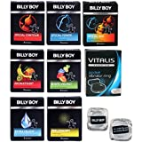 Billy Boy Relax Mix - 10 Billy Boy Sorten - 21 Kondome + Vitalis Premium Vibrationsring + 2 coole Billy Boy Eiswürfel gratis!