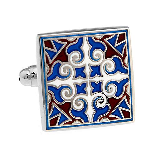 SJJY High-end Business French Cufflinks 2Pair Men and Women 珐琅 Square Blue Carved Pattern Cufflinks