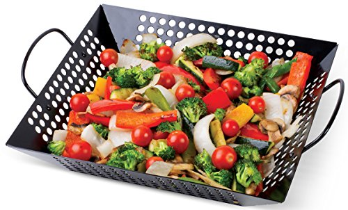 """Corona Nonstick BBQ Grill Basket - 12"""" Square Heavy Duty Grilling Basket With Dual Grip Handles - For Veggies, Chicken, Meats And Fish"""