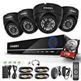 FREDI 4CH Security Camera System Full 960H DVR with 4x 800TVL Superior Night Vision IR Cut Leds indoor CCTV Camera (P2P Technology/E-Cloud Service,With 1TB Hard Drive)