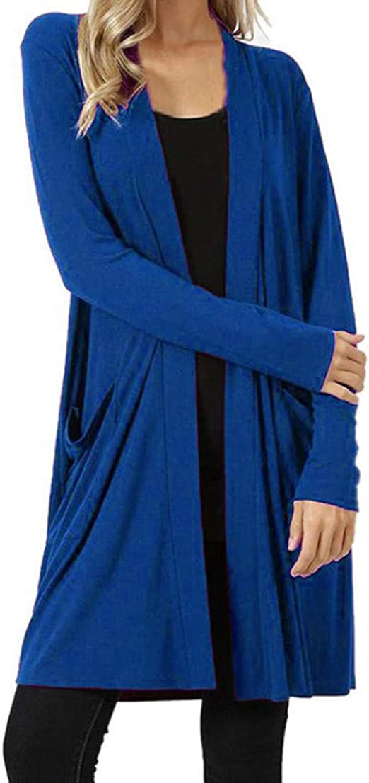 Long Sleeve Draped Striped Fly Away Lightweight Sweater Cardigan Made in USA