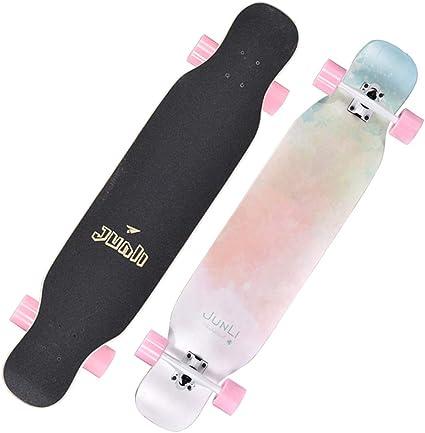 YQQ-MOTION Freestyle Longboard Skateboard 42 Pulgadas de Largo X 9 Pulgadas de Ancho Cubierta Maple Dancing Longboard Hecho para Adultos ni/ños//j/óvenes Carga m/áxima 330 Libras