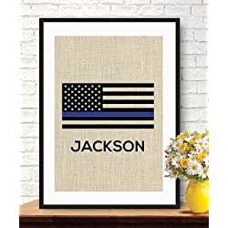 Thin Blue Line Flag, Personalized Police Officer Gift, American Flag, Burlap Print ,
