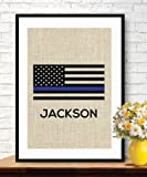 Thin Blue Line Flag, Personalized Police Officer Gift, American Flag, Burlap Print ,Stars and Stripes, Retirement Gift, Policeman Gift, Wedding Gift, Gift # 023 (BLUE LINE)